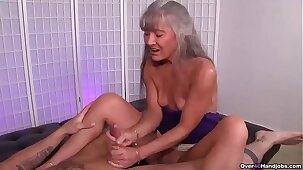 ov40-Mature slut jerking a young man