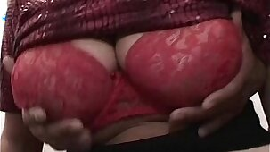 Horny Busty Mature Lady Takes On Three men