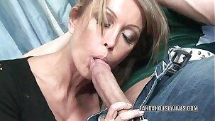 Mature slut Kristina Cross takes all the jizz on her face