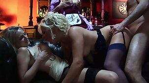 A HEN PARTY LIKE NEVER BEFORE: Barman fucks Big Tits MILFs