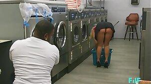 FILF - MILF Katie Morgan Takes Multiple Loads At The Laundromat
