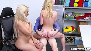 Natalie Knight rides the LP Officers dick while mom kissing the horny Officer waiting for her turnm to take a ride too
