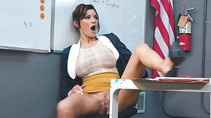 Busty teacher rubbing her pussy when college girl walks in!