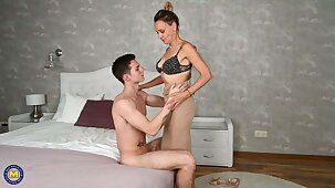 Taboo sex with hairy mature wife and boy