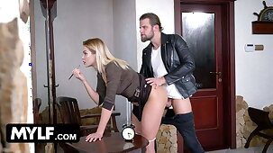 Oblivious teacher gets her big muff pounded